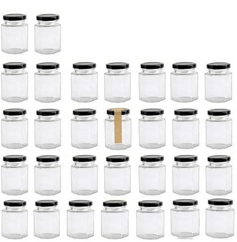 Encheng 4 oz Clear Hexagon Jars,Small Glass Jars With Lids(Black),Mason Jars For Herb,Foods,Jams,Liquid,Spice Jars Canning Jars For Storage 30 Pack …
