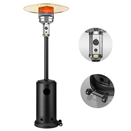 48,000 BTUs Outdoor Heaters for Patio Propane, Terra Hiker Outdoor Patio Heater with Wheels, Stainless Steel Propane Space Heaters, Garden Gas Heater with ETL Certified safety Ignition System