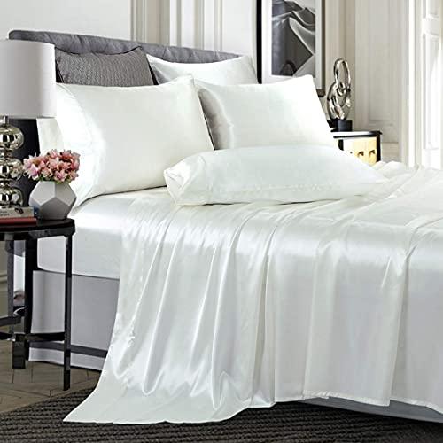 Will and Weaves satänglakanset lakanset 4 st sängkläder – 1 underlakan – 1 dra-på-lakan – 2 örngott (tvilling, vit)