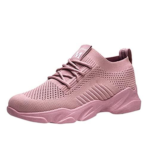 Zapatillas Mujer Casual Deportivas Caminar para Mujer/Hombre,Transpirable Zapatos de Running Sneakers Ligeras Zapato,Zapatos de Cuña con Plataforma Zapatillas Baratas Mujer(A20_Pink,39)