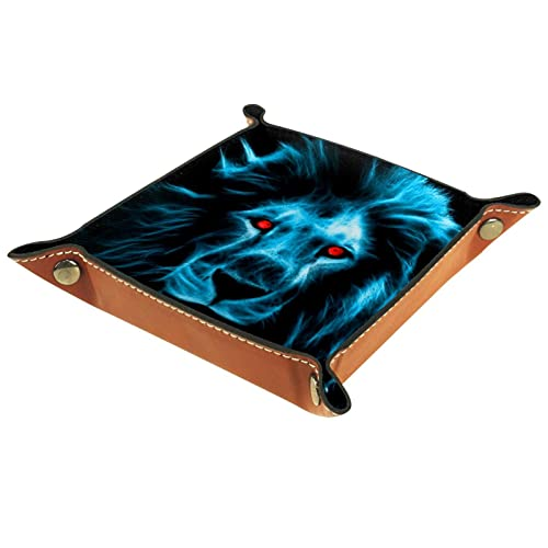 Yumansis Bandeja plegable de cuero de la PU para el reloj joyería almacenamiento titular ojo rojo y cabeza de león azul 16x16cm