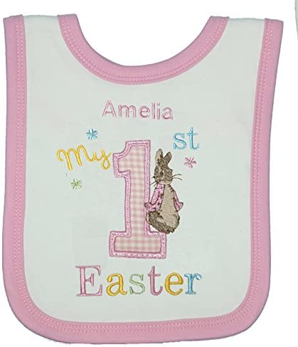Boys Peter Rabbit 1st Easter Personalised Baby Bib \u2013 Printed with The Name of Your Choice