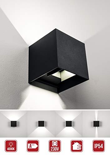 Moderne LED Wandleuchte Innen und Außen IP54 7Watt 4000Kelvin Leuchtwinkel Individuell Einstellbar Design Wandbeleuchtung Up-Down Strahler Wandlampe (Anthrazit, Quadratisch)