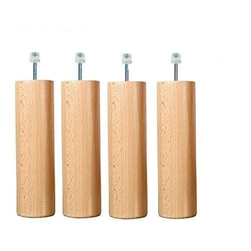 Wood Select Lot de 4 Pieds 35 cm Naturel Different Type de Fixation (Fixation Cadre Métal + Écrous)