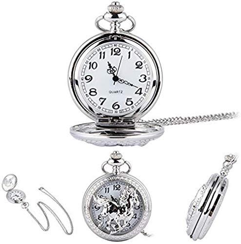 YOUZYHG co.,ltd Reloj de Bolsillo Modo Plata Hueco Cuarzo Hueco Reloj de Bolsillo Cadena Colgante Collar para Mujeres Hombres Regalos