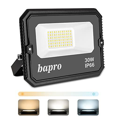 30W Regulable LED Foco Exterior, Potente 3000LM Proyector LED por interruptor (2700K-4000K-6500K), Impermeable IP66 Floodlight Luces Seguridad Luz de Iluminación Lampara para Patio, Camino, Jardín