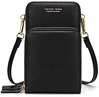 Kingto Small Leather Crossbody Cellphone Shoulder Bag for Women, Smartphone Wallet Purse with Removable Strap for Travel