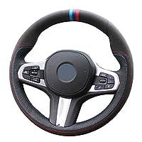 NIUASH DIYブラックレザーカーステアリングホイールカバー、BMWMスポーツG20G30 X5 G31 G32 X4 G21 X3 G01 G02 G05 G14 G15G16に適合