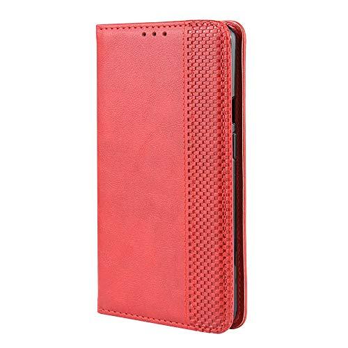 RonSun Funda para UMIDIGI Bison, Carcasa cartuchera Tipo Libro de Magnético Tarjetero, Cuero PU Cierre Magnético Flip Folio Case Compatible con UMIDIGI Bison Rojo