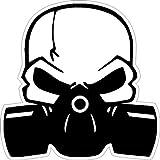 NetSpares 119543184 1 x Aufkleber Totenkopf mit Gasmaske Maske Shocker Sticker Tuning Autoaufkleber