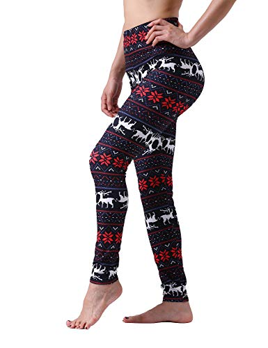 Maxi Womens Christmas Deer Snowflake Sante Pattern Soft Comfy Popular Printed Leggings