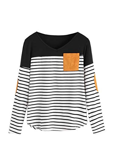 Milumia Women's Elbow Patch Tops Striped Round Neck Color Block Casual T Shirt Black X-Large Plus