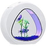Tangkula 1 Gallon Aquarium Betta Fish Tank, Fish Aquarium with LED Light & Power Filter, Fish Bowl Comes with Artificial Aquatic Plants & Blue Jean Aquarium Gravel(White)