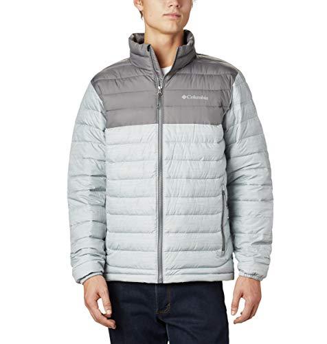Columbia Chaqueta aislante WO1111 para hombre, chaqueta Powder Lite, poliéster, Hombre, 1698001, Columbia gris jaspeado/gris, XL
