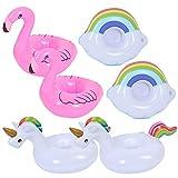 FANDE 6 paquets Gobelet Gonflable Flotteur, Piscine Gonflable Float Boisson Porte-Gobelet, Tasse Gonflable Coasters pour Pool Party et Bain pour Enfants