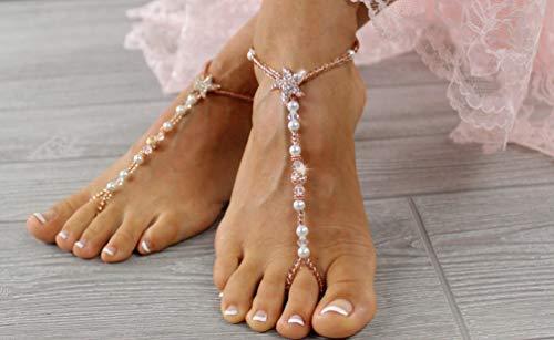 Rose Gold Wedding Barefoot Sandals Bridal Barefoot Sandals Starfish Foot Jewelry Beaded Sandals Wedding Accessories