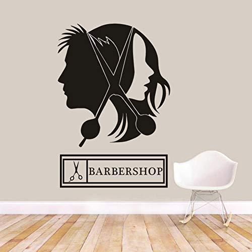 Muursticker schaar muursticker om haar te knippen neutrale kapsalon logo venster vinyl sticker kapsel design kapsalon logo wandposter 57x83 cm