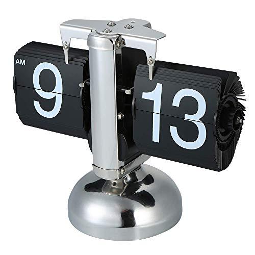 Reloj De Escritorio Rabat Retro Del Estilo Clásico Que Se Ejecuta En La Decoración Del Hogar Y La Oficina Tirón De La Página Reloj Digital A Través De Cuarzo Relojes De Mesa En Pequeña Escala,Negro