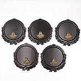 GTK - Juego de 5 placas de cuña talladas oscuras AF 16 cm con 5 hojas de roble, portada pequeña, tabla cuña, tabla de especias, placa de trofeos