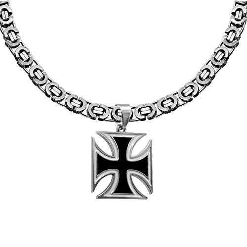 tumundo Set Hals-Kette + Ketten-Anhänger Eisernes Kreuz Königskette Figarokette Panzerkette Herren Silbern Schwarz Weiß, Variante:Modell 13, Größe:Ø 6mm - 55 cm