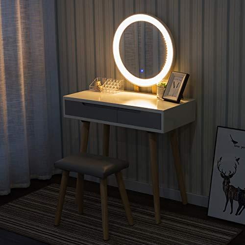 YU YUSING Tocador con LED iluminación, 2 cajones, Organizador extraíble, Mesa cosmética con Taburete tapizado, para Dormitorio, vestidor,Moderno, Espejo Redondo