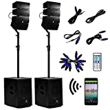 AKUSTIK 12 Inch 4000Watt Powered PA Speaker System Combo Set, DJ Array Speaker Set with Remote Control, Two Subwoofers & 8 X Array Speakers Set, Bluetooth/USB/SD/RCA