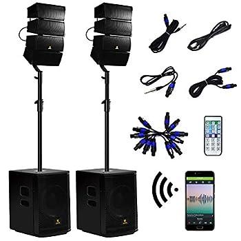AKUSTIK 12 Inch 4000Watt Powered PA Speaker System Combo Set DJ Array Speaker Set with Remote Control Two Subwoofers & 8 X Array Speaker Set Bluetooth/USB/SD/RCA  12 Inch