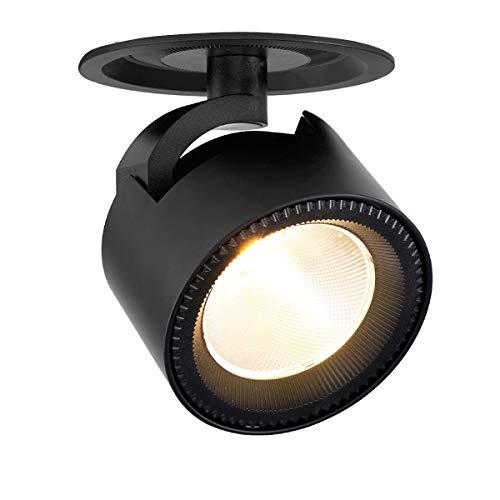 Dr.lazy 10W LED Deckenstrahler Einbauleuchten Deckenspots LED Einbaustrahler Deckenleuchten LED Deckenspot schwenkbar LED Einbauspot Innenbeleuchtung 12X14.5CM, Lochmaß: 10cm (Schwarz-3000K)