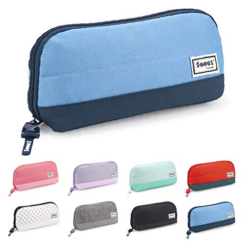 Sooez Wide-Opening Pencil Pen Case, Lightweight & Spacious Pencil Pouch Zipper Stationery Bag, Aesthetic Supply with Triangular Design for School Girls Teens Adults, Blue