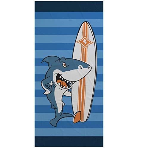 Cartoon Panda Mikrofaser Badetuch 150x75cm Rechteckiger Tier Strandtuch Rosa Blaue Streifen Sport Handtuch Schwimmen Tauchen Surfen Reisen Yoga Picknick Decke (Hai Surfen)