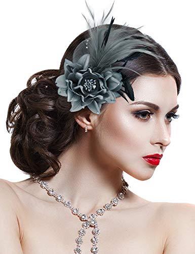 Fascinators for Women Tea Party Wedding Headband Flower Feather Brooch Hair Clip, 1-grey, One Size