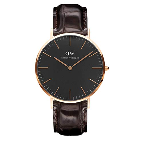 Daniel Wellington Classic York Orologio Uomo, 40mm, in Pelle, Marrone/Oro Rosato