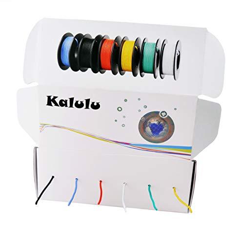 0.08mm² Filo elettrico 28 AWG, filo in rame stagnato Kit Filo flessibile in silicone calibro,6 Colour 10 metri Resistenza alle alte temperature con filo a trefoli da 3000V (28AWG)