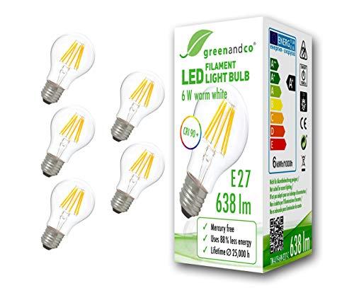 5x greenandco® CRI90+ Glühfaden LED Lampe ersetzt 50 Watt E27 Birne, 6W 638 Lumen 2700K warmweiß Filament Fadenlampe 360° 230V AC nur Glas, nicht dimmbar, flimmerfrei, 2 Jahre Garantie