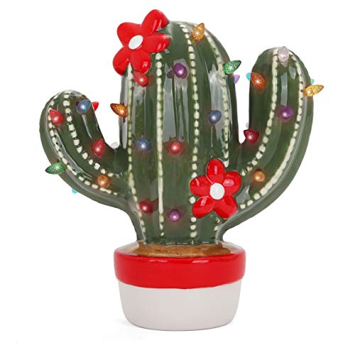 Milltown Merchants Ceramic Christmas Cactus - Vintage Ceramic Christmas Tree Cactus - Light up Christmas Tree Cactus - Nostalgic Christmas Tree Cactus/Nostalgic Christmas Decorations