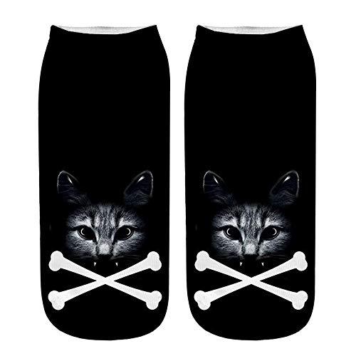 ☺Knöchelsocken Weihnachten Socken Lustige Sneaker Söckchen Unisex Sportsocken Baumwoll 3D Katze Gedruckt Atmungsaktiv Kurzsocken Boots Schuhe für Herren & Damen & Mädchen & Jungen 1 Paar (A)