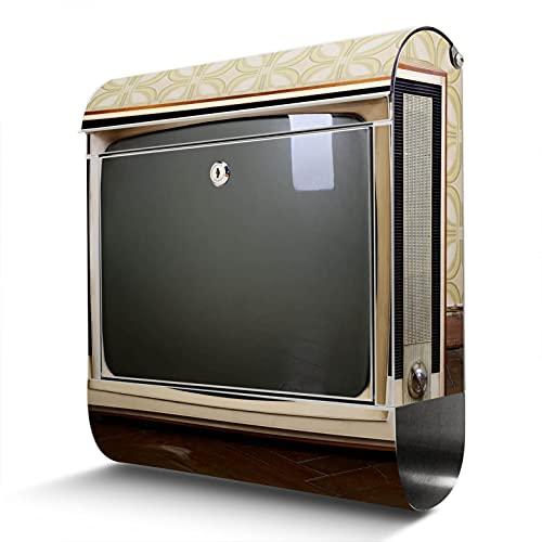 banjado® Briefkasten Edelstahl mit Motiv Schwarzweiß TV 38x43,5x12,5cm & 2 Schlüssel - rostfreier Edelstahl Briefkasten mit Zeitungsfach - Postkasten A4 Einwurf inkl. Montagematerial