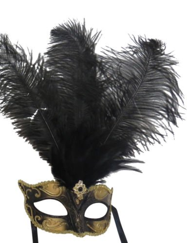The good life Damen Schwarz und Gold Venezianischen Maskerade Partei Karneval Maske mit Federn