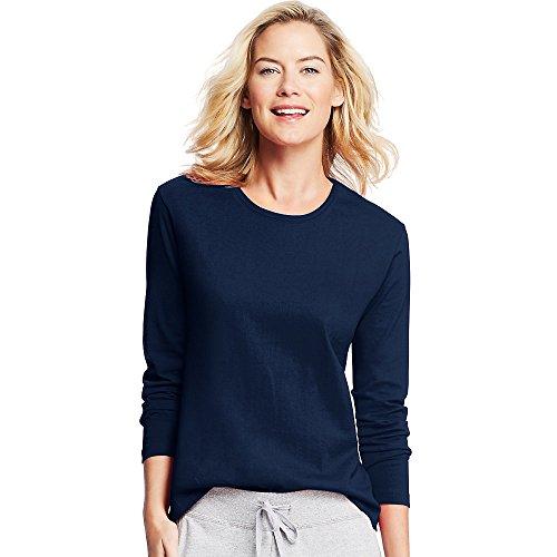 Hanes Women's Long-Sleeve Crewneck T-Shirt, Navy, L
