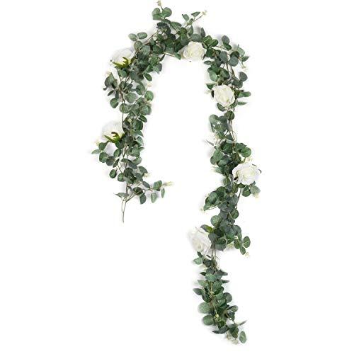 U'Artlines Flores Artificiales Guirnalda de eucalipto Artificial con Rosas Blancas Hojas de eucalipto Boda Decoración de la Pared de telón de Fondo(Guirnalda de eucalipto con Rosas Blancas)