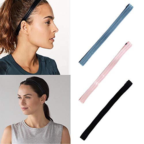 Zoestar Sport Stripe Hoofdbanden Workout Hoofd Wrap Mode Elastische Fitness Haarband Yoga Hardlopen Sweat Band voor Vrouwen(Pack van 3)