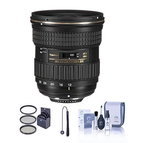 Tokina 12-28mm f/4.0 at-X Pro APS-C Lens for Nikon - Bundle - with 77mm Filter Kit (UV, CPL, Neutral Density), Cleaning Kit, CapKeeper 2 (Model CK-2) Lens Cap Leash