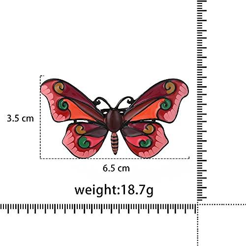 ROTOOY Broches de Mariposa Vintage Libélula Insectos de Cristal Alfileres de Abeja Joyería Moda Vestido Abrigo Accesorios Broche para mujer-BO2150BLRD