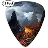 Dark Volcano Guitar Pick Set Guitarra Bajo Mandolin Ukulele 0.46mm 0.71mm 0.96mm 12 Pack Guitar Picks Plectrums Con Picks Holder