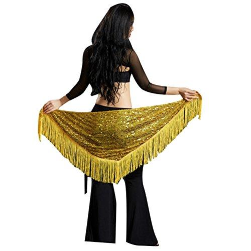 YuanDian Mujer Triángulo Cinturon Danza Del Vientre Cadera Pañuelo Bufanda Chal Lentejuelas Brillantes Borla Sirena Profesional Tribal Árabe Oriental Danza Ropa Accesorios Amarillo