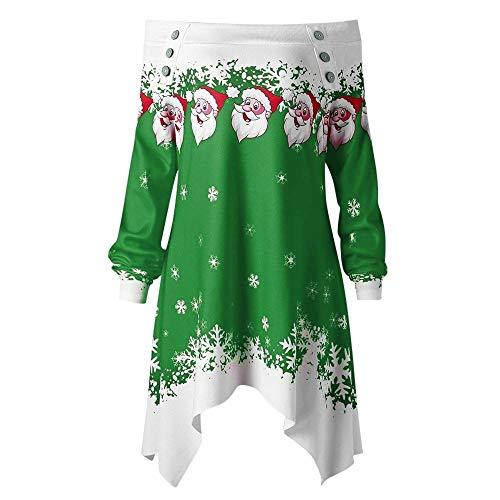 Pull de Noel Femme Grande Taille Christmas Pullover Tops Hiver T-Shirt Femmes Imprimé Noël Sweat Sweat Hors Épaule Chandail Femmes Pas Cher
