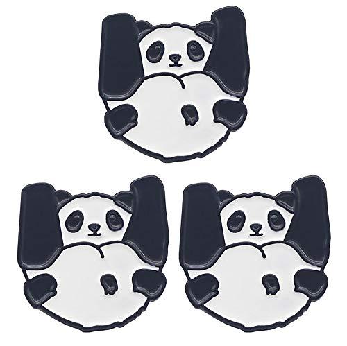 Brosche Panda für Anzug, Tasche, Hut etc., 3 Stück
