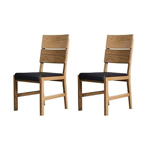 Marca Amazon -Alkove - Hayes - Set de 2 sillones de madera maciza con asiento tapizado (roble salvaje)
