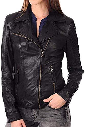 Retro Vintage Womens Casual Lambskin Tan Slim Fit Cafe Racer Biker Leather Jacket (Black, Medium)