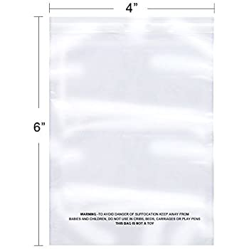 The Elixir Packaging 6 x 9 inch 1.5Mil Clear Self Adhesive Resealable Reclosable Sealing Plastic Bags Meets FDA USDA Standards Pack of 1000